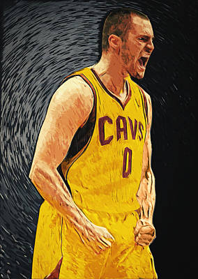 Lebron James Jersey Digital Art - Kevin Love  by Taylan Apukovska