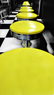 Stools And Counter Photograph - Kevin's Has A Seat For You by CJ Anderson