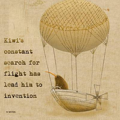 Kiwi Bird Digital Art - Kevs Invention by Marlene Watson