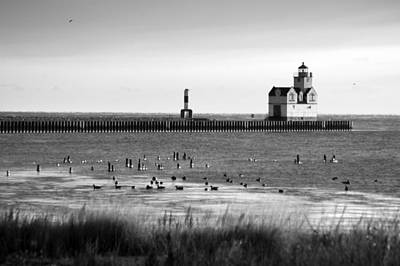 Photograph - Kewaunee Lighthouse In Bandw by Bill Pevlor