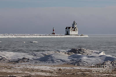 Nikki Vig Royalty-Free and Rights-Managed Images - Kewaunee Lighthouse in Winter by Nikki Vig