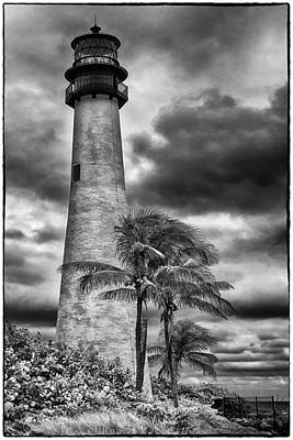 Photograph - Key Biscayne Fl Lighthouse Black And White Img 7167 by Greg Kluempers
