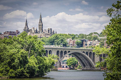 Georgetown Photograph - Key Bridge And Georgetown University by Bradley Clay