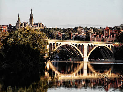 Georgetown Digital Art - Key Bridge And Georgetown University Washington Dc by Bill Cannon