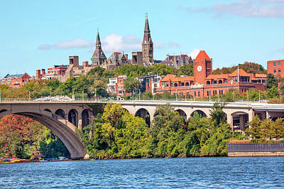 Georgetown Photograph - Key Bridge, Potomac River, Georgetown by William Perry