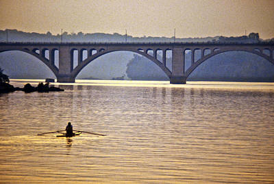 Photograph - Key Bridge Rower by Stuart Litoff