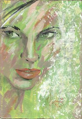 Female Face Drawing - Key Lime by P J Lewis