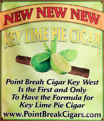 Key Lime Pie Cigar Sign - Key West  Art Print by Ian Monk