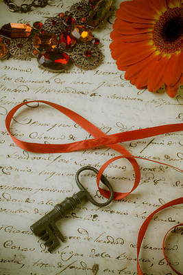 Paper Jewelry Photograph - Key On Red Ribbon by Garry Gay