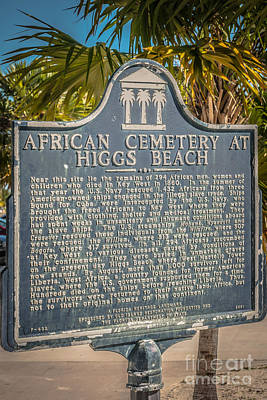 Key West African Cemetery Sign Portrait - Key West - Hdr Style Art Print by Ian Monk