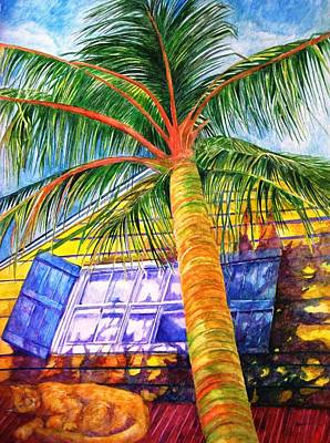 Guesthouse Painting - Key West Cat On A Hot Tin Roof by Kandy Cross