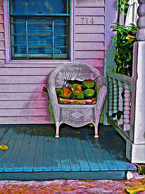 Colorful Houses Photograph - Key West Coconuts - Colorful House Porch by Rebecca Korpita
