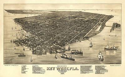Key West Florida Map 1884 Art Print