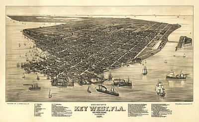 Cruising The Coast Wall Art - Photograph - Key West Florida Map 1884 by Daniel Hagerman