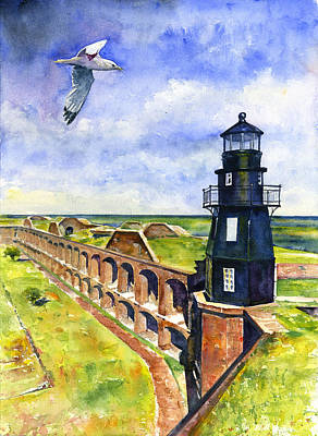 Painting - Key West Lighthouse 2 by John D Benson