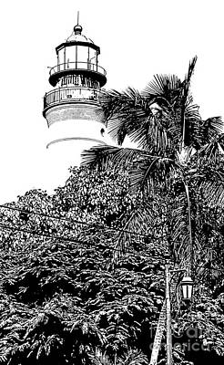 Digital Art - Key West Lighthouse Above Palm And Mimosa Trees Florida Black And White Stamp Digital Art by Shawn O'Brien