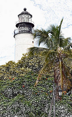 Digital Art - Key West Lighthouse Above Palm And Mimosa Trees Florida Colored Pencil Digital Art by Shawn O'Brien