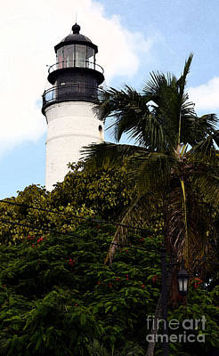 Digital Art - Key West Lighthouse Above Palm And Mimosa Trees Florida Fresco Digital Art by Shawn O'Brien