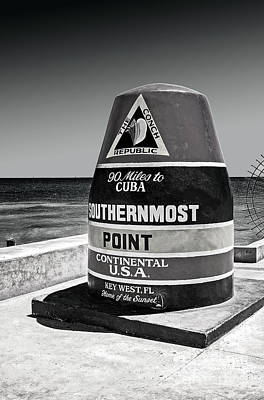 Photograph - Key West Cuba Distance Marker by Phil Cardamone
