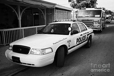 Patrol Car Photograph - Key West Police Patrol Squad Car And Key West Fire Dept Engine Florida Usa by Joe Fox