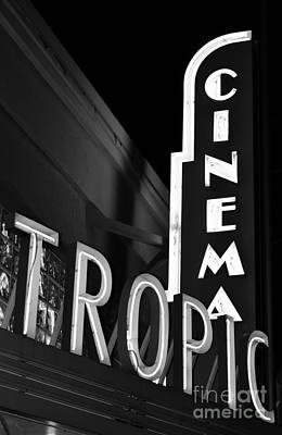 Photograph - Key West Tropic Cinema Neon Art Deco Theater Signs Black And White by Shawn O'Brien