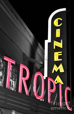 Photograph - Key West Tropic Cinema Neon Art Deco Theater Signs Color Splash Black And White by Shawn O'Brien