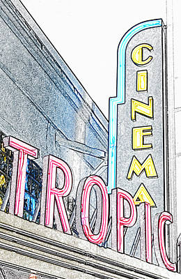 Digital Art - Key West Tropic Cinema Neon Art Deco Theater Signs Colored Pencil Digital Art by Shawn O'Brien