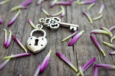 Protection Photograph - Key With Heart Shaped Lock by Aged Pixel