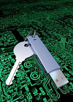 Circuit Photograph - Key With Usb Device And Circuit Board by Victor Habbick Visions