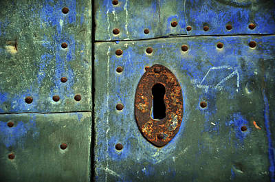 Old Door Photograph - Keyhole On A Blue And Green Door by RicardMN Photography