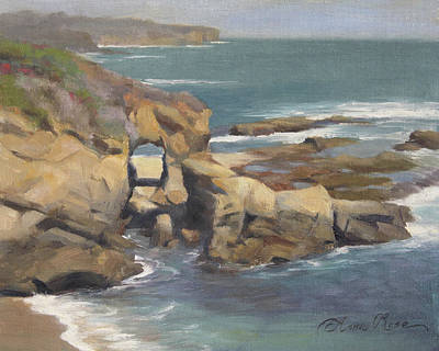 Annas Painting - Keyhole Rock At The Montage Laguna Beach by Anna Rose Bain