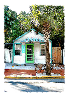 Keys House And Bike Art Print by Linda Olsen