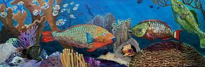 Parrotfish Painting - Keys Reef Encounter by Linda Kegley