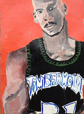 Basketball Portrait Painting - KG by Brandon King