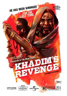 Grindhouse Painting - Khadim's Revenge - Mock Movie Poster by Ashraf Ghori