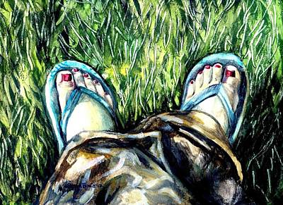 Khaki Pants And Flip Flops Art Print by Shana Rowe Jackson