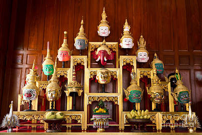 Khon Masks Is Situated On The Set Of Altar Table Art Print