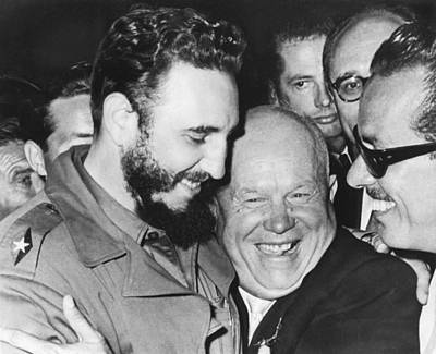 Political Photograph - Khrushchev And Castro by Underwood Archives