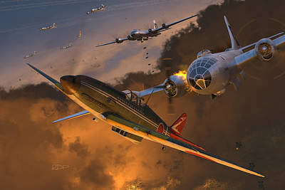 Wwii Digital Art - Ki-61 Hien Vs. B-29s by Robert Perry