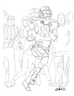 Black And White Eagle Drawing - Kick Bama Kick by Calvin Durham