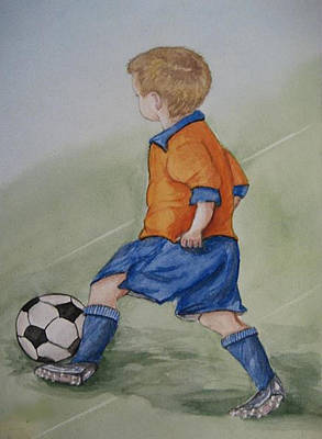 Painting - Kick N It ....boy And Soccer by Kelly Mills