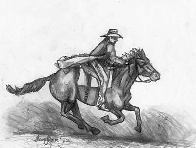 Art Print featuring the drawing Kickin Up Dust by Shana Rowe Jackson