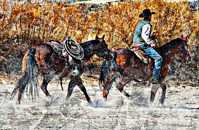 Roping Horse Painting - Kickin Up The Rio II by Barbara Chichester