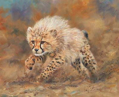 Cheetah Painting - Kicking Up Dust 3 by David Stribbling