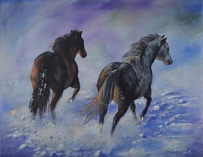 Painting - Kicking Up Snow by Cindy Welsh