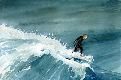 Painting - Kid Riding Wave by Brian Meyer