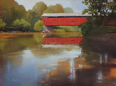 Covered Bridge Painting - Kidd's Mill Bridge by Todd Baxter