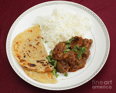 Photograph - Kidney Masala Meal From Above by Paul Cowan