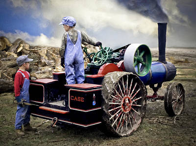 Kids And 1 2 Scale Case Steam Tractor Art Print by F Leblanc