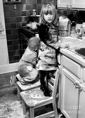 Mess Photograph - Kids Flour Fight Black And White by Iris Richardson